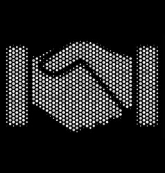 White pixelated acquisition handshake icon vector