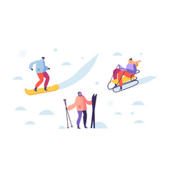 winter sport activities with characters skier vector image
