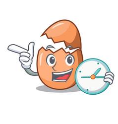 With clock raw broken egg on table cartoon vector
