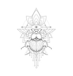 With hand drawn scarab and sacred symbol on white vector