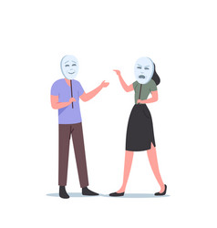 Woman character wear angry mask scream on man who vector