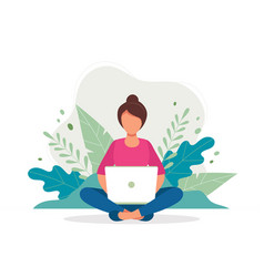 woman with laptop sitting in nature and leaves vector image