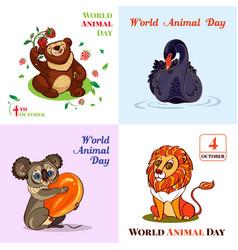 World animal day october banner set cartoon style vector