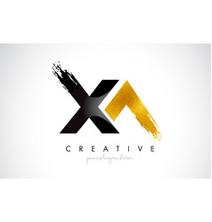 Xa letter design with brush stroke and modern 3d vector