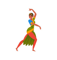 young woman performing folk dance indian dancer vector image