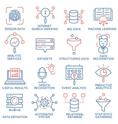 Data management analytic service icons 1 vector image vector image