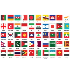 icons with Asian flags vector image