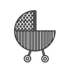Silhouette traditional baby carriage with dotted vector