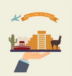welcome to mexico attractions of mexico on a tray vector image vector image