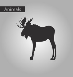 Black and white style icon of elk vector