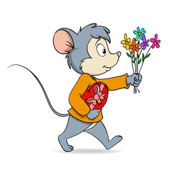 cartoon cute mouse with heart gift box and flowers vector image vector image