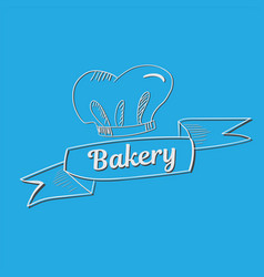 Hand drawn bakery text with chef s hat vector