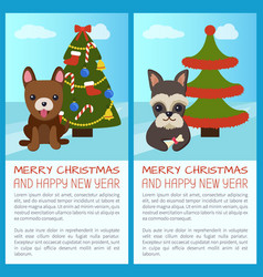 merry christmas tree and dogs vector image