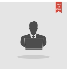 people with computer person with laptop icon vector image