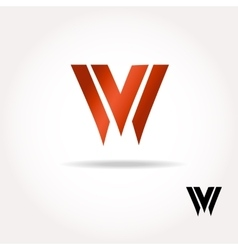 W letter bright colors logo - vector image vector image