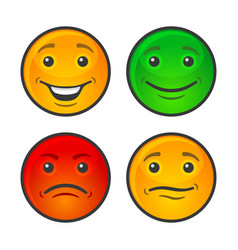 color smiley face icons set vector image