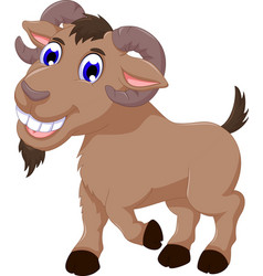 cute goat cartoon smiling look at camera vector image