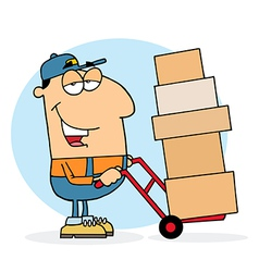 Delivery Guy Using A Dolly To Move Boxes vector image vector image