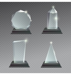 Empty glass trophy awards set vector image vector image