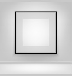 empty white poster black frame on wall with floor vector image