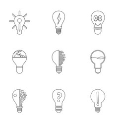 lightbulb icons set outline style vector image vector image