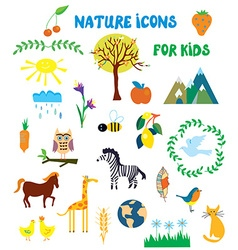 Nature icons set for kids vector image