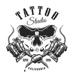 tattoo studio emblem with machines and skull vector image vector image