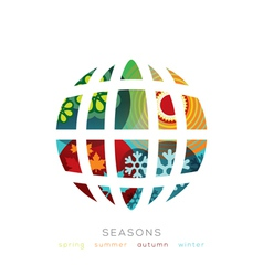 Globe with four seasons concept vector image vector image