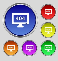 404 not found error icon sign Round symbol on vector image