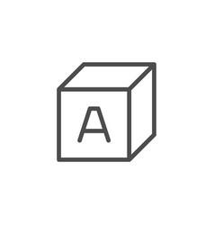 alphabet cube line icon vector image