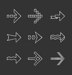 arrows chalk icons set wavy pixel folding striped vector image