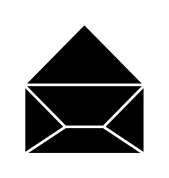 black silhouette envelope opened icon vector image vector image