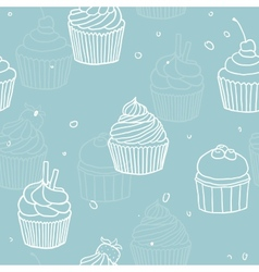 Blue cupckes pattern vector image