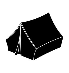 blue tent with pegshippy single icon in black vector image