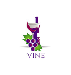 bottle wine with grape logo sign symbol icon vector image