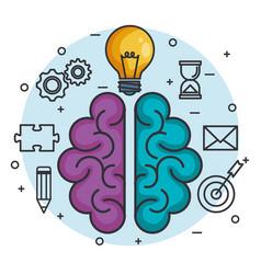 Brain lightbulb think idea intelligence concept vector