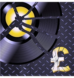 Broken record and pound on metallic diamond plate vector
