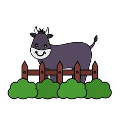 Bull fence farm vector