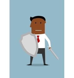 Businessman with shield protecting a business vector image