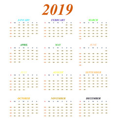 calendar for 2019 year months of color icons vector image