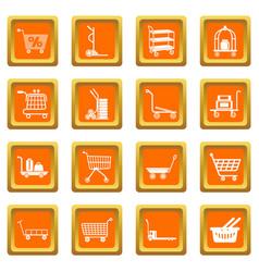 Cart types icons set orange square vector
