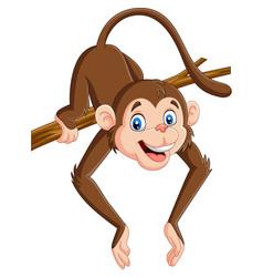 cartoon funny monkey on a tree branch vector image