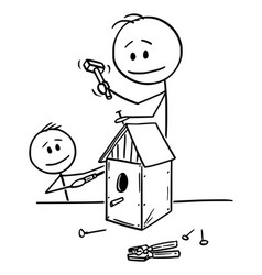 cartoon man and boy or father and son building vector image