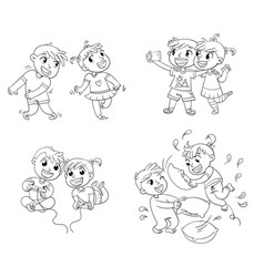 children spend leisure time fun coloring book vector image