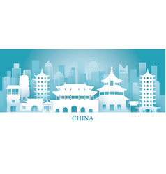 China skyline landmarks in paper cutting style vector