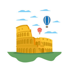 Coliseum rome and funny air balloons vector