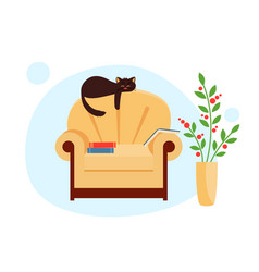 Cute cat is lying on back chair in warm room vector