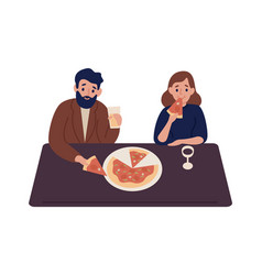 cute couple eating tasty pizza together vector image