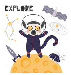 Cute lemur astronaut vector