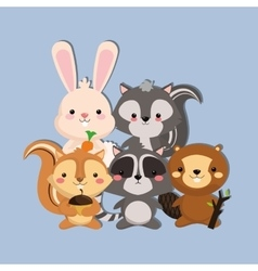 Cute skunk rabbit squirrel racoon and beaver image vector